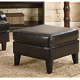 Roundhill Furniture Wonda Bonded Leather Ottoman, Brown