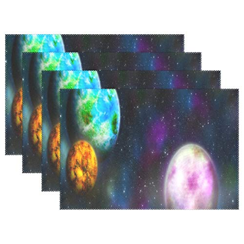 NMCEO Place Mats Wallpaper Space Planet Star Galaxy Personalized Table Mats for Kitchen Dinner Table Washable PVC Non-Slip Insulation 1 Piece