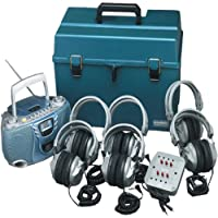 Hamilton Buhl 6 Person Listening Center with Bluetooth Cassette/CD/FM Boombox and Deluxe Over-Ear Headphones
