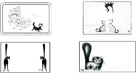 Editions Clouet – Juego de 4 manteles Individuales de Mesa con diseño de Gato (muñeco de Caza, Lino, diseño de Roldolphe Paris, Gato en el Techo), Color Blanco y Negro: Amazon.es: Hogar