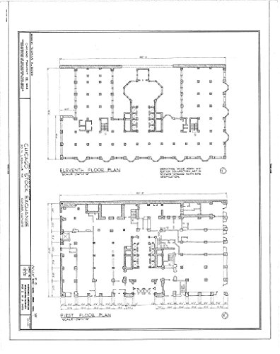 Lasalle Chicago Bank (historic pictoric Blueprint Diagram HABS ILL,16-CHIG,36- (sheet 2 of 4) - Chicago Stock Exchange Building, 30 North LaSalle Street, Chicago, Cook County, IL 16in x 20in)