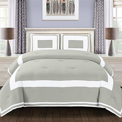 3 Piece King/California King Grammercy All Season Down Alternative Block Pattern Comforter Set, for Master Bedrooms, Casual Bedding, Modern, Grey, Contemporary, Geometric Pattern, Machine Wash - Contemporary Modern Geometric Blocks