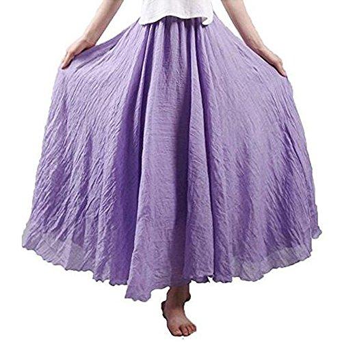 Hotgirldress Women's Bohemian Style Elastic Waist Band Cotton Linen Long Maxi Skirt Dress Waist 23.0