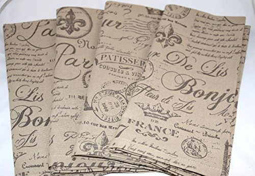 DII Design Imports French Flourish Paris Script Napkins Set of 4