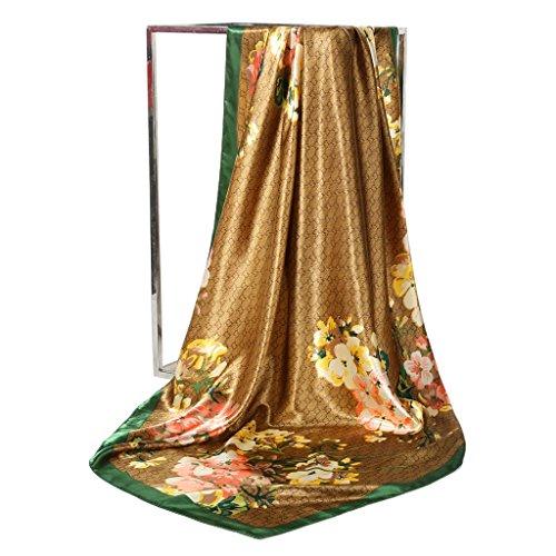 JAGENIE Fashion Silky Square Scarf Women's Vintage Floral Print Head Large Shawl Wraps 2