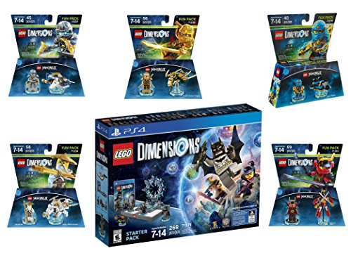 Lego Dimensions Ninjago Starter Pack + Jay + LLoyd + Nya + Zane + Sensei Wu Fun Packs for Playstation 4 or PS4 Pro Console by WB Lego