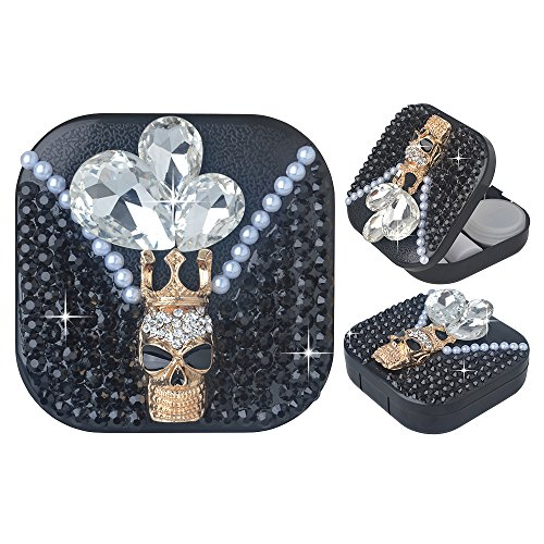 KAKA(TM) Fashion Box Kit 3D Handmade Rhinestone Bling Crystal Design Skull Pattern Decorated Black Mini Contact lenses Case