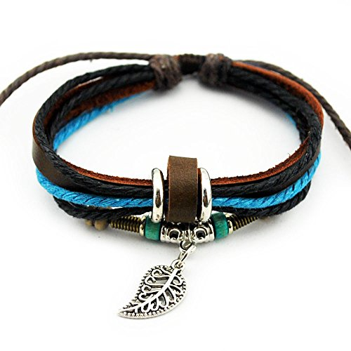 Real Spark Fashion Multilayer Rope Colorful Wraps Wristband Leaf Pendant Tribal Leather Wrap Bracelet