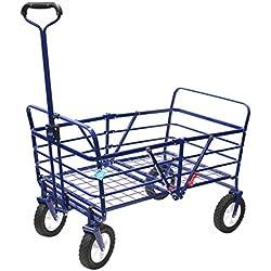 WonderFold Outdoor Next Generation 2-in-1 Heavy Duty Folding Wagon Fieldwork Lawn Garden Utility Cart - Sapphire Blue (Wagon without Bag)