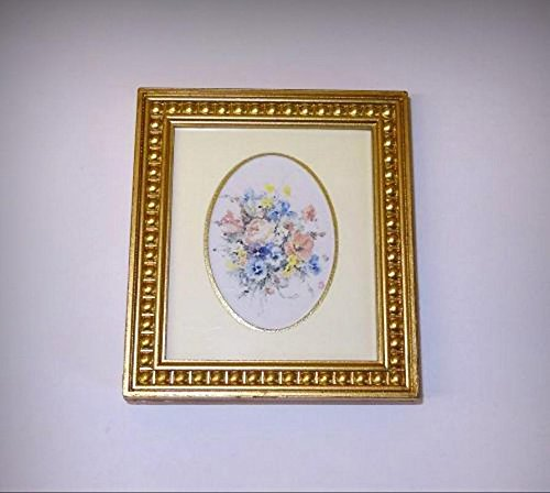 Double Oval Matted Flower Bouquet Picture Ornate Frame 1:12 Dollhouse Miniatures - My Mini Garden Dollhouse Accessories for Outdoor or House Decor