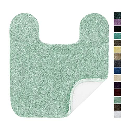 Maples Rugs Bathroom Colorsoft 20″ x 21.5″ Non Slip Washable Contour Toilet Rug [Made in USA] Soft & Quick Dry for Bath Floor Green Juniper