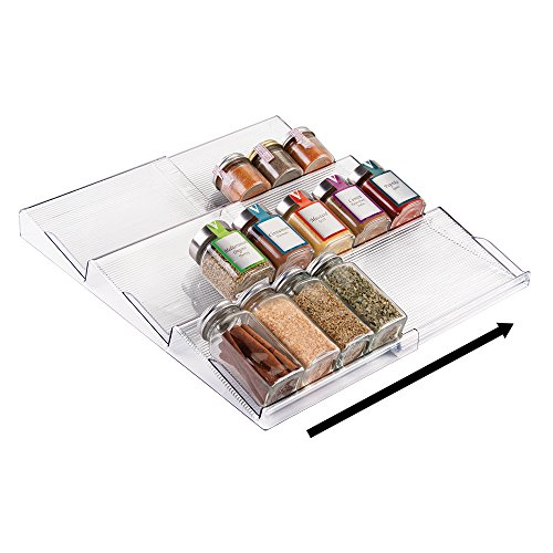 mDesign Expandable Spice Rack Organizer for Kitchen Drawer - Clear (Large Image)