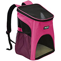 KritterWorld Pet Carrier Backpack for Small Dogs, Puppies, Cats, Kittens Up to 7lbs, Comfort Mesh Pup Pack Great for A Walk, Travel, Hiking and Cycling, Hot Pink