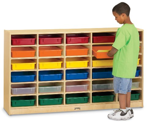 30 Paper-Tray Cubbie With Colored Paper-Trays - School & Play Furniture