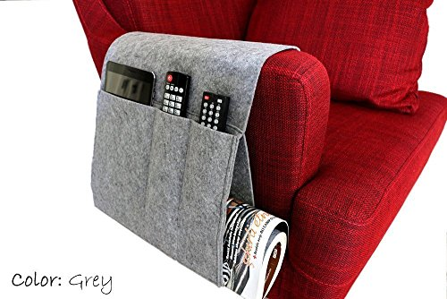 Felt Sofa Armrest Organizer, Handmade Custom Armrest Organizer in Grey Color