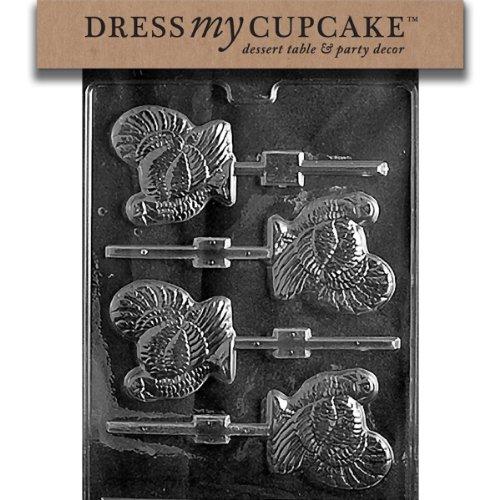 Dress My Cupcake DMCT010 Chocolate Candy Mold, Turkey Lollipop, Thanksgiving ()