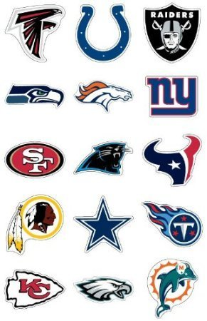 NFL Team Logo Stickers * Set of 50 Football Stickers (All 32 Team Logos and more) 4.25
