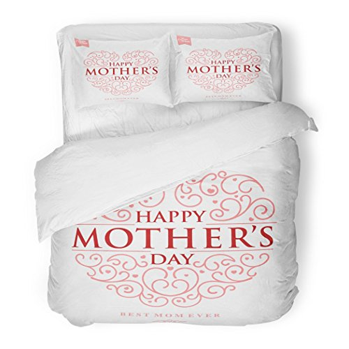 SanChic Duvet Cover Set Red Beautiful Typographical Heart for Mother Day Colorful Decorative Bedding Set with 2 Pillow Shams Full/Queen Size