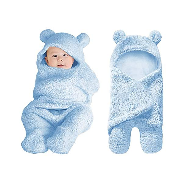 XMWEALTHY Cute Baby Items Newborn Plush Nersury Swaddle Blankets Soft Infant Girls Clothes Light Blue