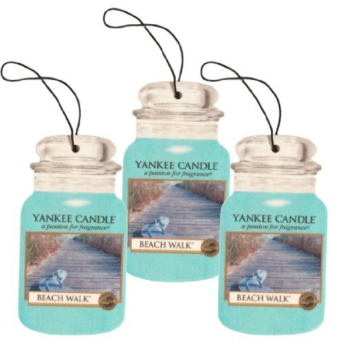 Yankee Candle Car Jar Classic Cardboard Car ,Home and Office Hanging Air Freshener, Beach Walk Scent (Pack of 3)