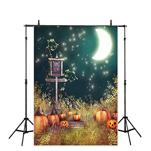Allenjoy 5x7ft Ninyl Halloween Photography Backdrops Night Moon Pumpkin Lantern Wallpaper Decors Children Party Background Photo Studio Booth Photographer -