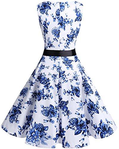 Retro Corto Mujer Vestido Vintage White Escote Blue Flower Bridesmay Sin Pico En Mangas wCAg8q