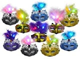 Ginzick 12 Pack LED Mardi Gras Masquerade Party Feather LED Masks – Assorted Colors