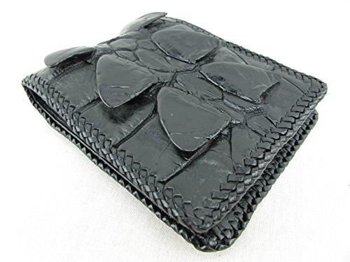 PELGIO Genuine Crocodile Alligator Tail Skin Handmade Bifold Wallet (Black)