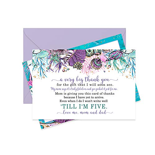 Mermaid Baby Shower Thank You Cards and Purple Envelopes (Set of 15) Enchanting Seashell Design -