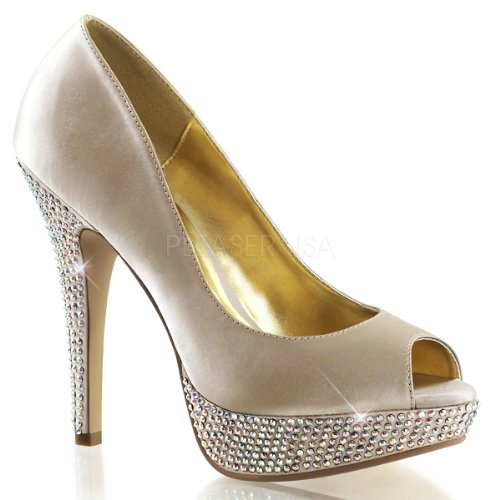 Fabulicious Lolita-02 sexy High Heels Strass besetzte Plateau Peeptoe Pumps Satin Champagner Beige 35-41 Champagne Satin