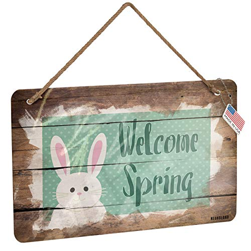 NEONBLOND Metal Sign Welcome Spring Cute Easter Bunny with Polka-dots Christmas Wood Print