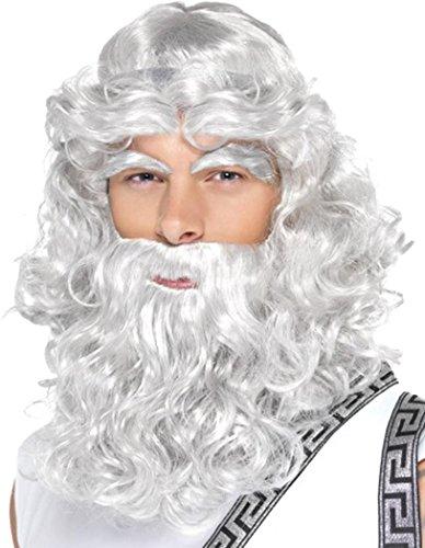 Mens Fancy Dress Party Costume False Hair Greek God Beard & Eyebrows Zeus Wig ()