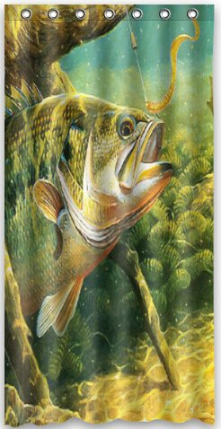 Top Design Bass Fish Jumping Hook Shower Curtain 36quotw X 72quot