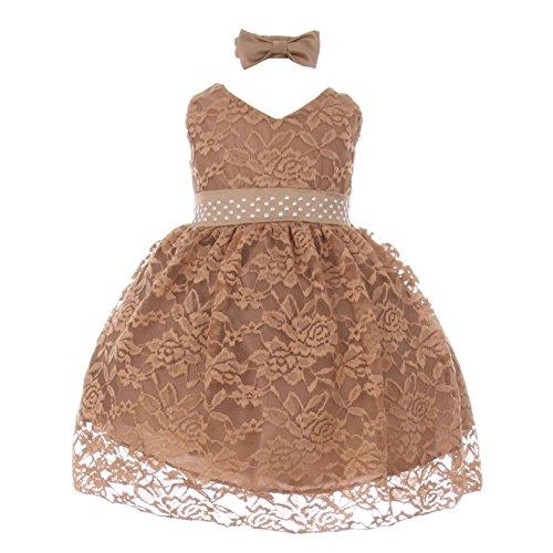 Baby Girls Mocha Rose Lace Overlay Beaded Sleeveless Occasion Dress 18M