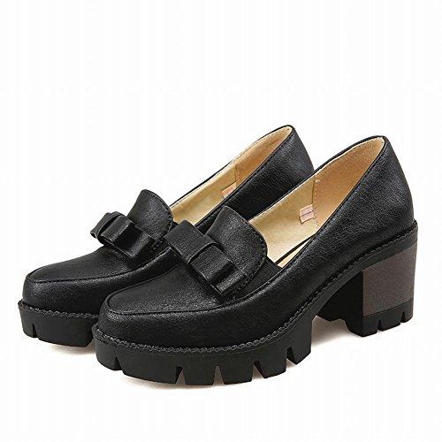 Mostrar Zapatos De Tacón Grueso Shine Mujeres Fashion Bow Platform Black