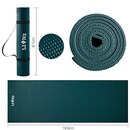Lions Non Slip Exercise Mat, 6mm Light Weight Thick Padded with Carry Straps, Eco Friendly, Ideal for Home Gym Yoga…
