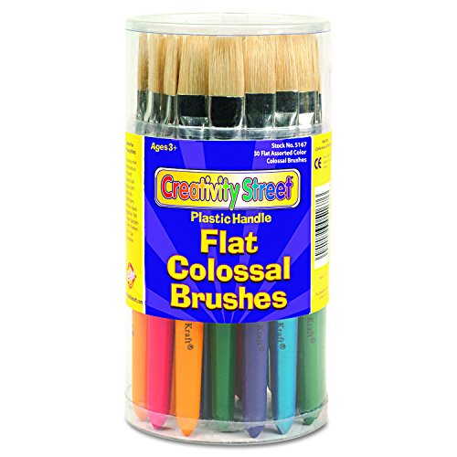 Flat Chenille Wood Kraft (Creativity Street 5167 Colossal Brush, Natural Bristle, Flat (Set of 30))