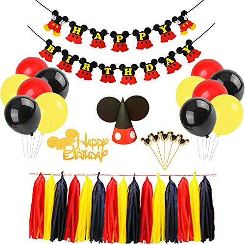 Mickey Mouse Happy Birthday Banner Decorations Kit, Mickey Mouse Banner Cupcake Cake Topper Hat for Baby Birthday Party Mickey Mouse Theme Party Supplies