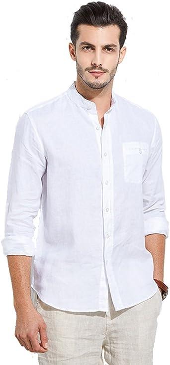 UAISI Camisa de Lino para Hombre Blanca Casual De Verano Manga Larga Slim fit