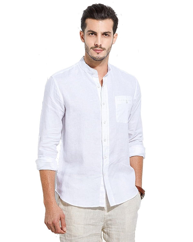 5a1b6601858 UAISI Mens Casual Shirts 100% Linen White Shirt Long Sleeve Stand Collar  Shirt Slim fit  Amazon.co.uk  Clothing