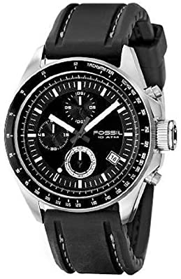 Fossil Decker - Men's Black PU Chrono Watch