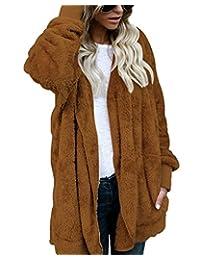Women Fuzzy Fleece Jacket Open Front Hooded Cardigan Coat Outwear Pockets