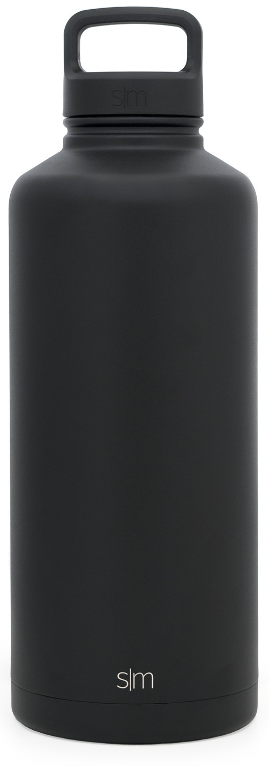Simple Modern 84oz Summit Water Bottle - Stainless Steel Half Gallon Flask +2 Lids - Wide Mouth Double Wall Vacuum Insulated Black Leakproof - Midnight Black by Simple Modern (Image #4)