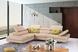 A761 Modern Italian Leather Sectional Sofa in Peanut : modern italian leather sectional sofas - Sectionals, Sofas & Couches