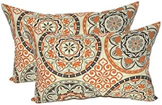 Set of 2 – Indoor Outdoor Rectangle Lumbar Decorative Throw Toss Pillows