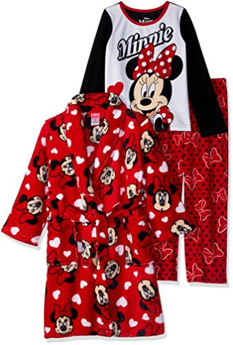 Disney Girls' Little' Minnie Mouse 3-Piece Robe Pajama Set, Inconic red, ()