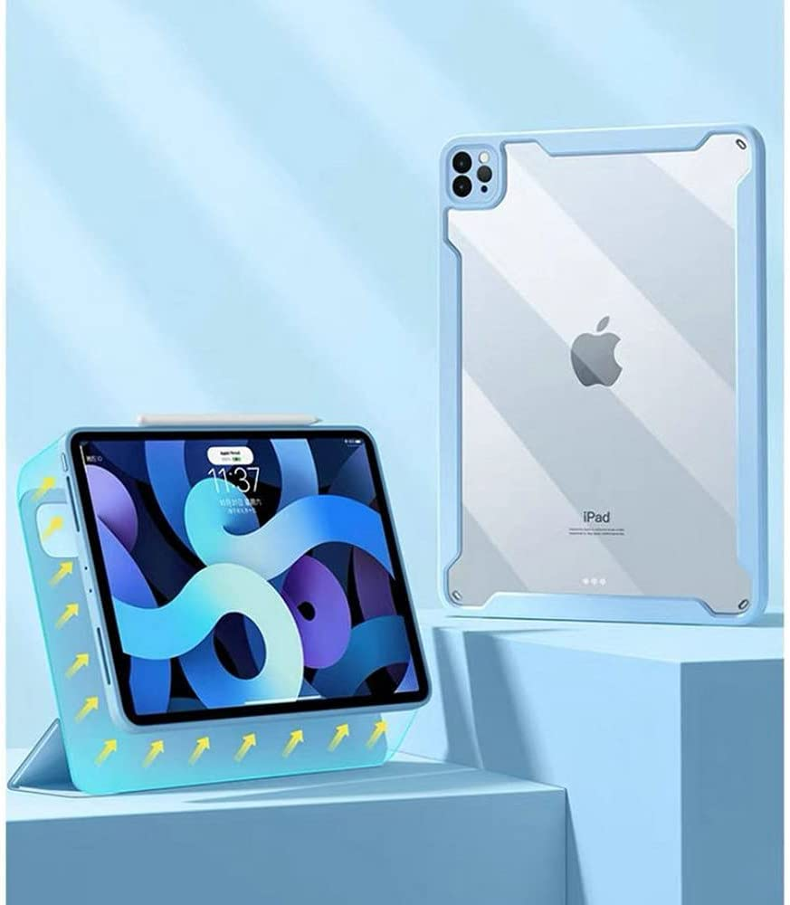 Magnetic Case for New iPad Pro 12.9 inch 2021( 5th Generation),Folio Trifold Stand Smart Cover with Detachable Slim Hard Shell Transparent Back Cover(iPad Pro 12.9 2021, Sky Blue)