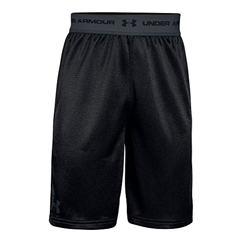 Boys Gym Short - Under Armour Boys' Tech Prototype 2.0 Shorts, Black (001)/Stealth Gray, Youth Large