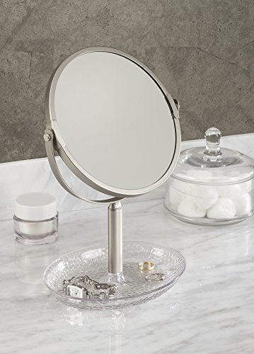 mDesign Two-Sided Free Standing Vanity Makeup Mirror for Bathroom Countertops - Clear/Satin (Glass Counter Vanity)