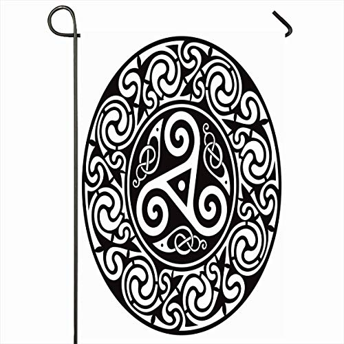 (Ahawoso Outdoor Garden Flag 12x18 Inches Life Pagan Black Round Celtic Vintage Ireland Knot Border Circle Culture Dream Edging Occult Home Decor Seasonal Double Sides House Yard Sign Banner)